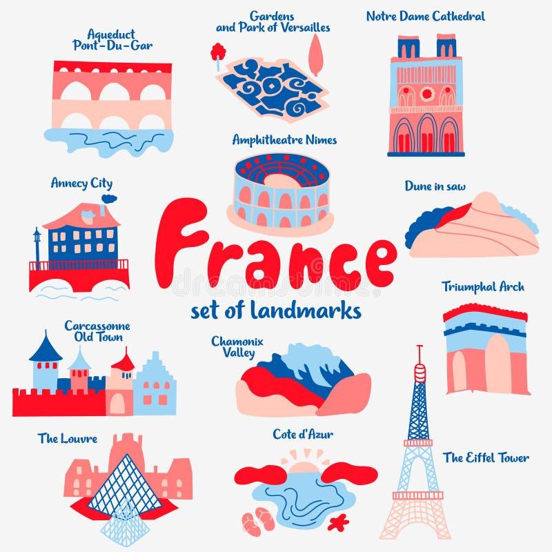 Ajuste dos lugares populares das atrações de França ilustração do vetor