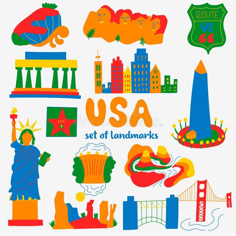 Ajuste dos lugares populares das atrações dos EUA ilustração do vetor