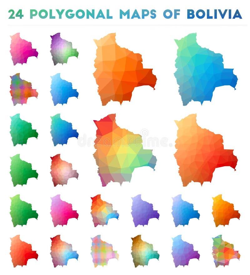 Ajuste dos mapas poligonais do vetor de Bolívia ilustração do vetor