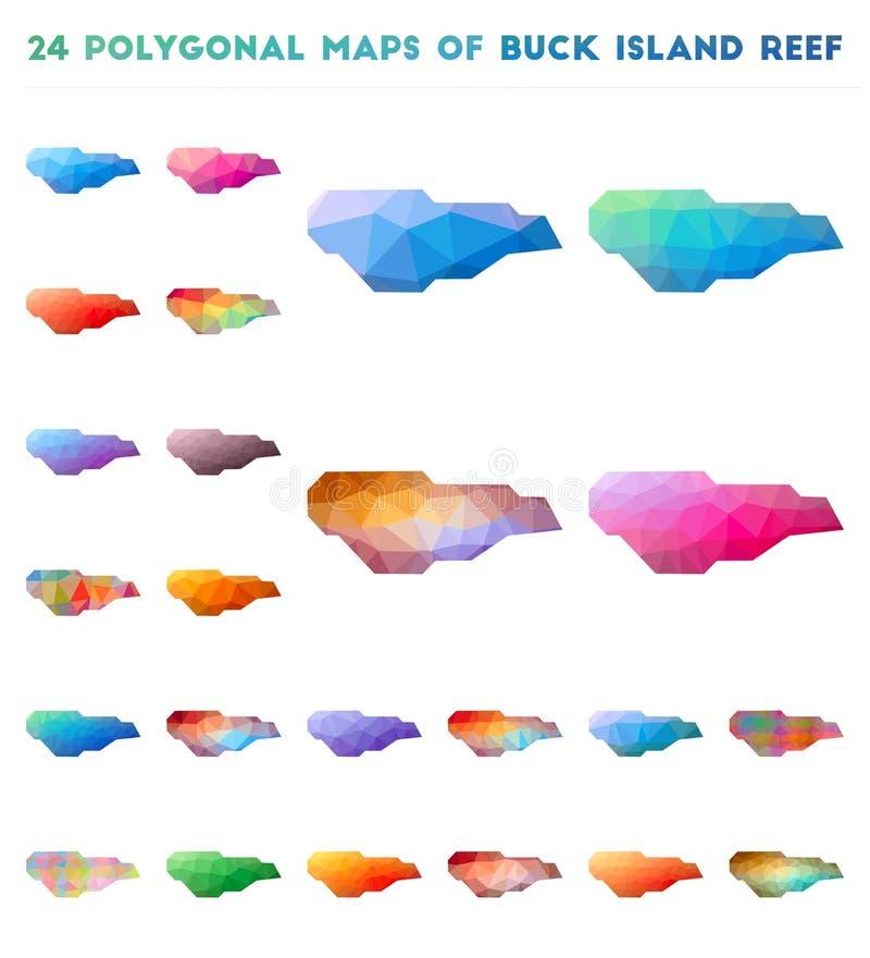 Ajuste dos mapas poligonais do vetor de Buck Island Reef ilustração stock