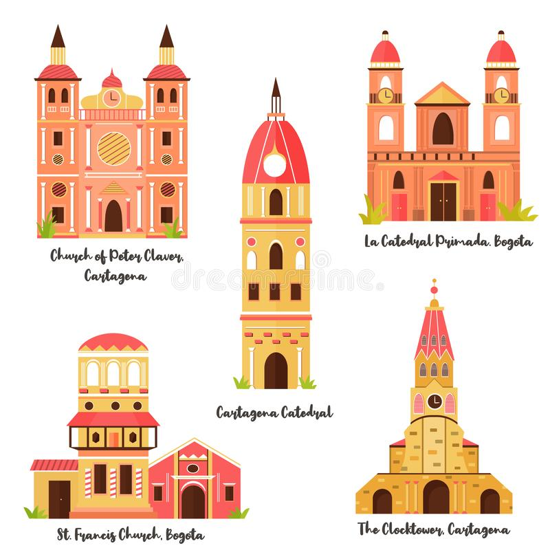Ajuste dos marcos famosos de Bogotá, Cartagena ilustração royalty free