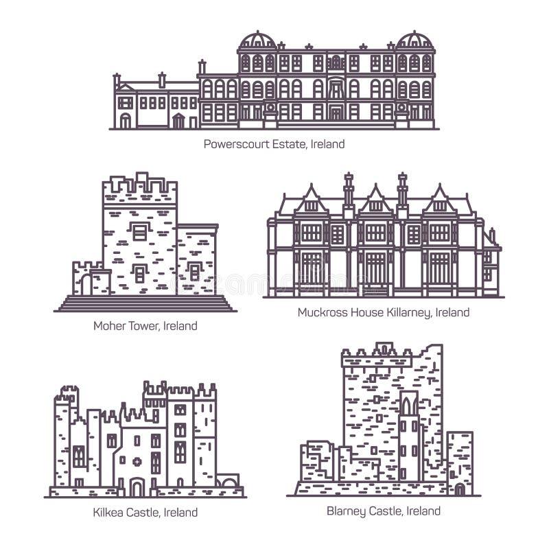 Ajuste dos marcos isolados da Irlanda na linha fina ilustração royalty free
