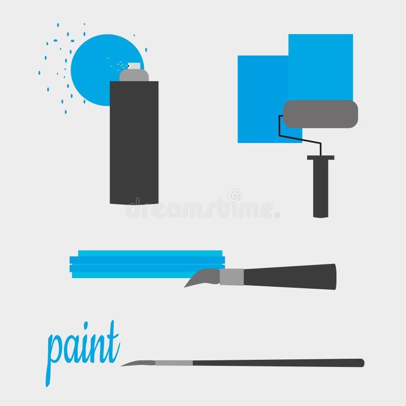 Ajuste dos materiais de pintura no estilo de ícones lisos Pintura à pistola, rolo de pintura, escova e escova da arte ilustração do vetor