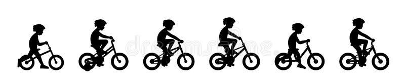 Ajuste dos meninos que montam a bicicleta ilustração royalty free