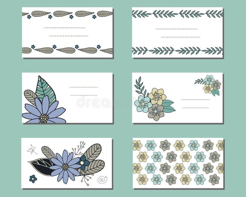 Ajuste dos moldes com flores da garatuja ilustração royalty free