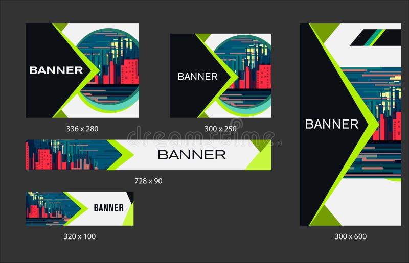 Ajuste dos moldes da bandeira da Web para seu local ou blogue com elementos geométricos ilustração royalty free