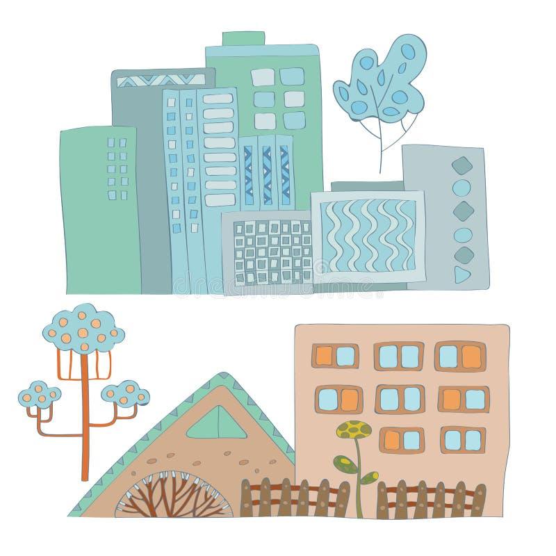 Ajuste dos moldes da cidade do artoon do  de Ñ com imagens coloridas do vetor das casas ilustração stock