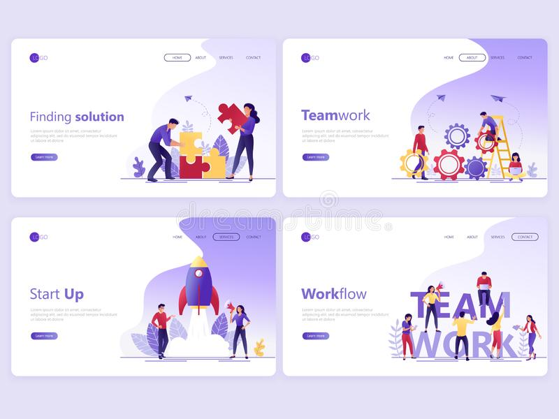 Ajuste dos moldes de aterrissagem da página O app dos serviços a empresas, trabalho da equipe, começa acima, solução, trabalhos E ilustração do vetor