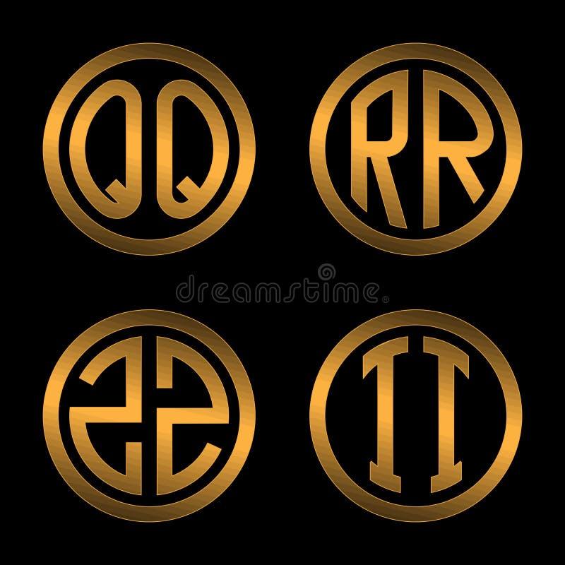 Ajuste 1 dos moldes de duas letras douradas principais em um fundo preto Q, R, S, T inscreido em um oval Para criar logotipos ilustração royalty free