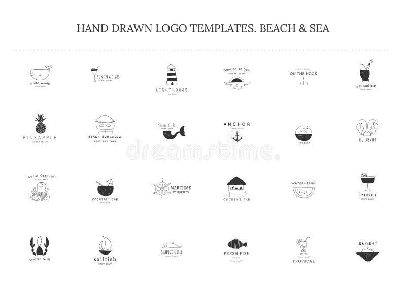 Ajuste dos moldes tirados mão do logotipo do vetor Tema da praia e do mar ilustração stock