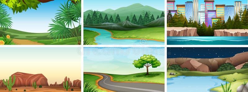 Ajuste dos moldes vazios vazios das cenas exteriores da natureza ilustração stock