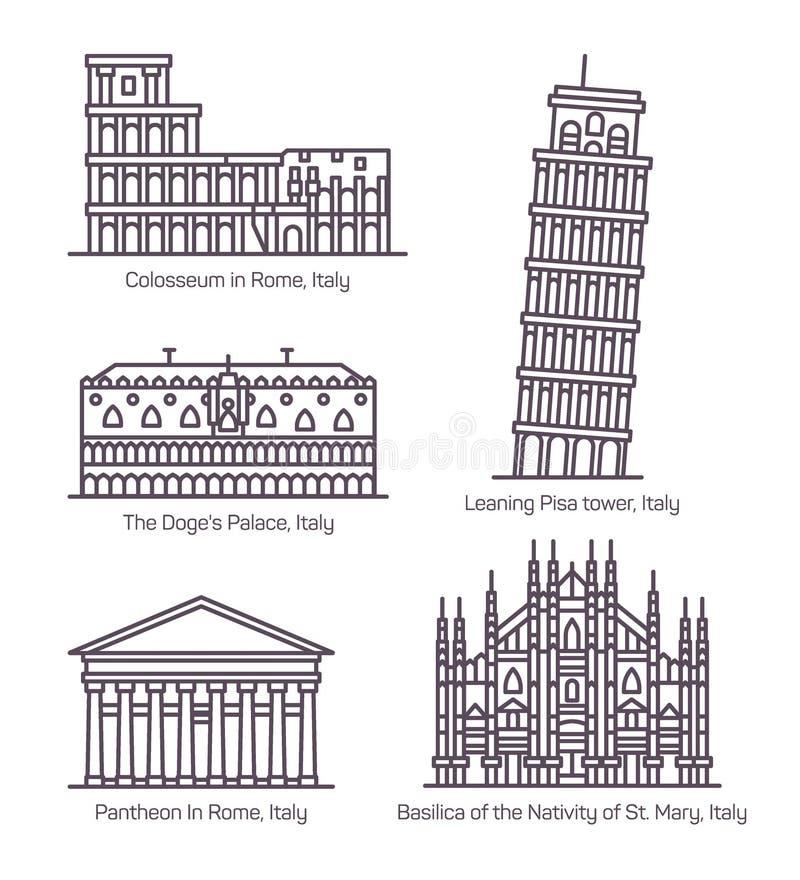 Ajuste dos monumentos isolados de Itália na linha fina ilustração royalty free
