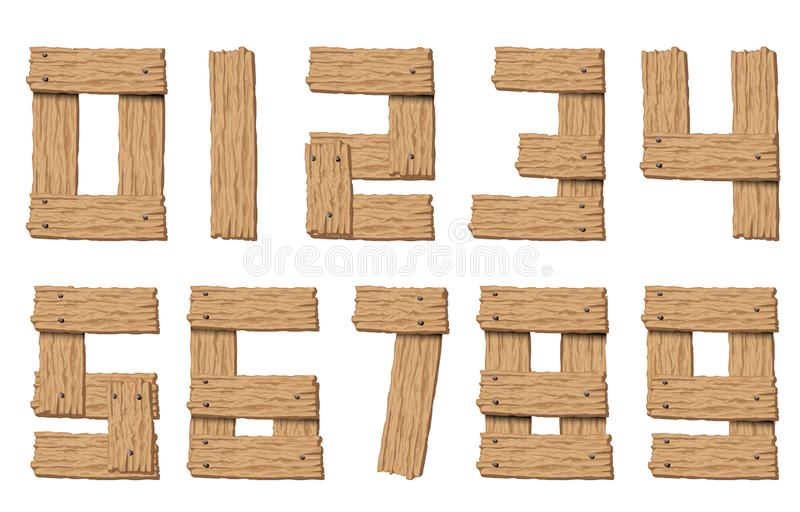 Ajuste dos números abstratos de madeira do vetor ilustração do vetor
