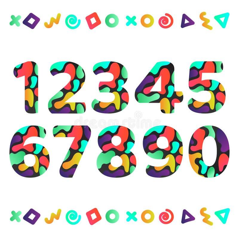 Ajuste dos números curvy do inclinação do cirle redondo lustroso com os elementos retros do estilo do projeto 80s-90s isolados ilustração do vetor