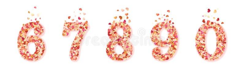 Ajuste dos números decorativos coloridos dos confetes dos corações do dia de Valentim Isolado no fundo branco Eps 10 ilustração stock