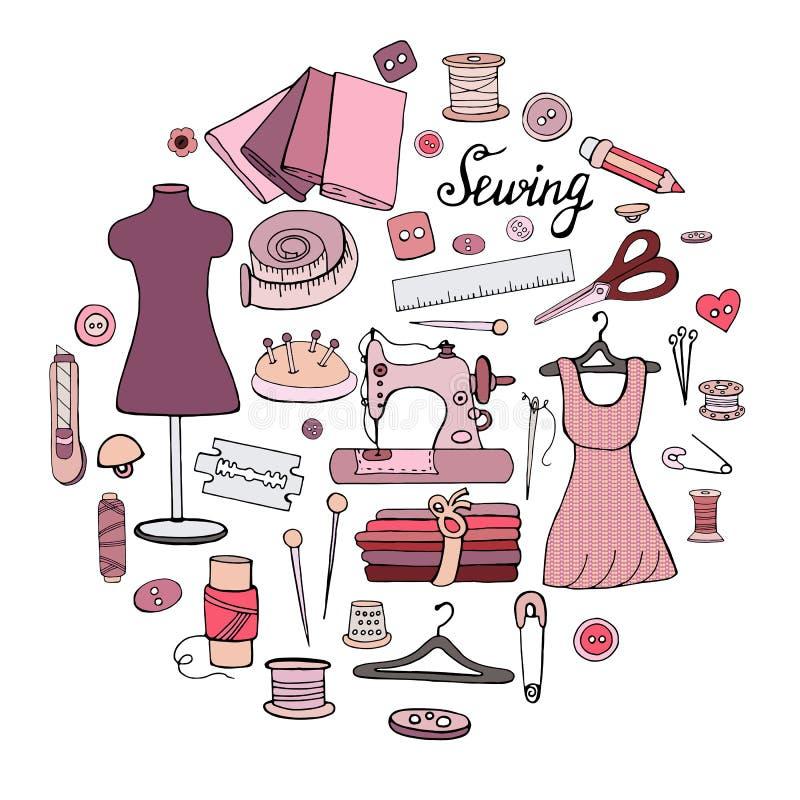 Ajuste dos objetos diferentes para costurar ilustração stock