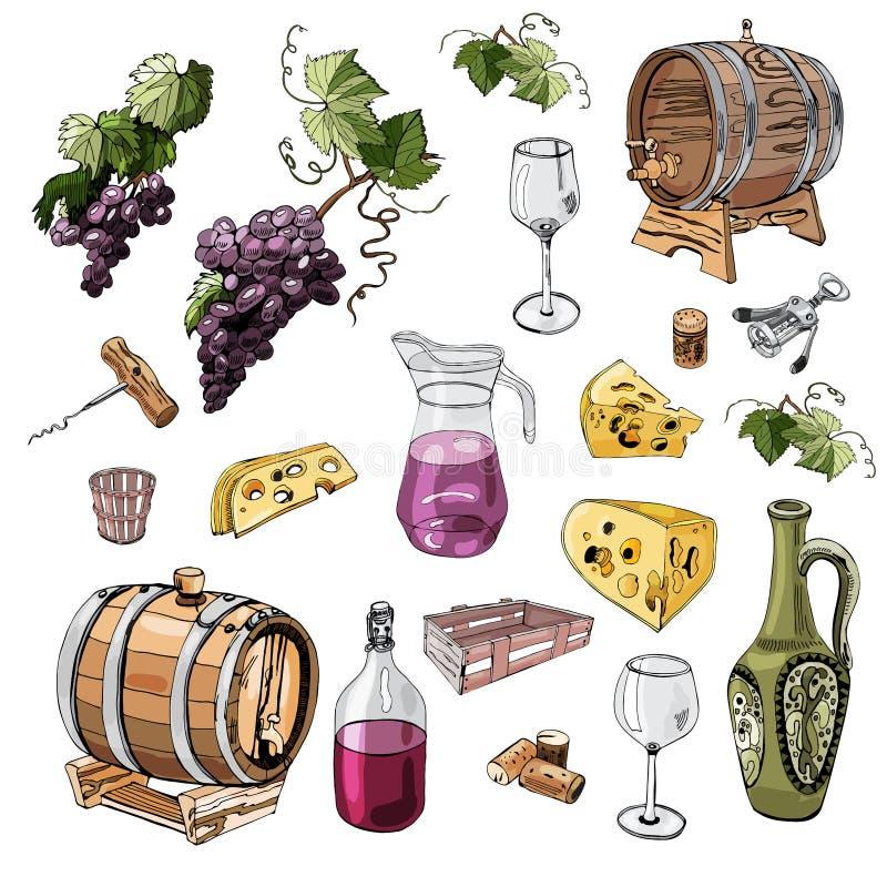 Ajuste dos objetos do produto de vinho Tinta tirada mão e elementos coloridos do esboço isolados no fundo branco ilustração do vetor