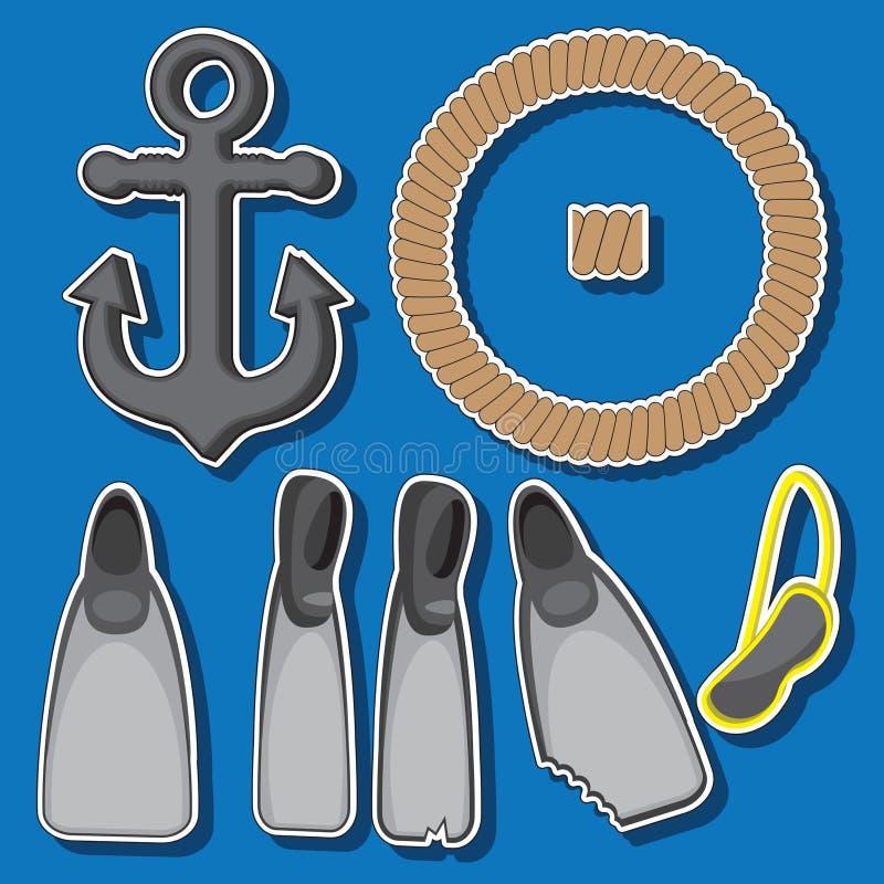 Ajuste dos objetos náuticos, máscara de mergulho das aletas da corda da âncora Imagem do vetor ilustração royalty free