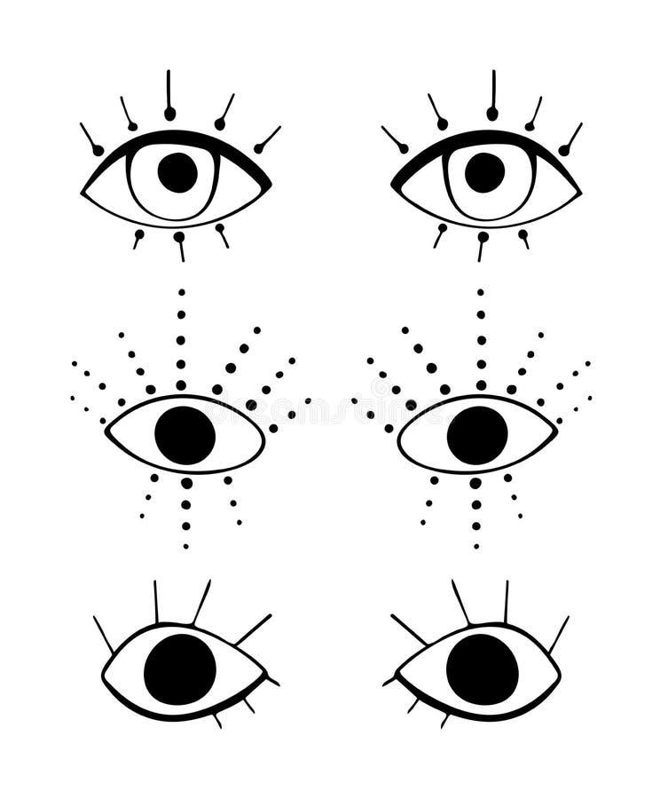 Ajuste dos olhos bonitos dos desenhos animados no estilo abstrato Drawnig gráfico preto dos globos oculares com as pestanas no fu ilustração stock