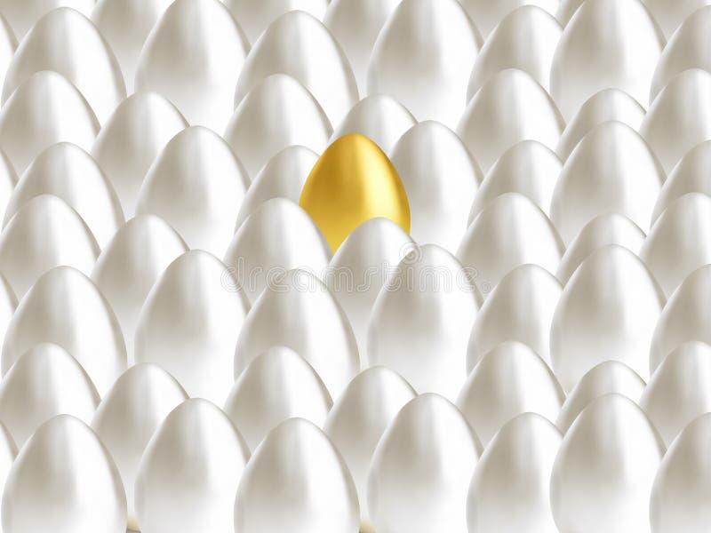 Ajuste dos ovos 3d um ouro e o branco m?ltiplo ilustração do vetor