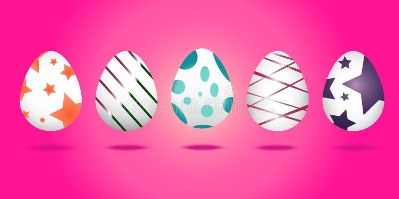 Ajuste dos ovos da páscoa no fundo cor-de-rosa agradável ilustração stock