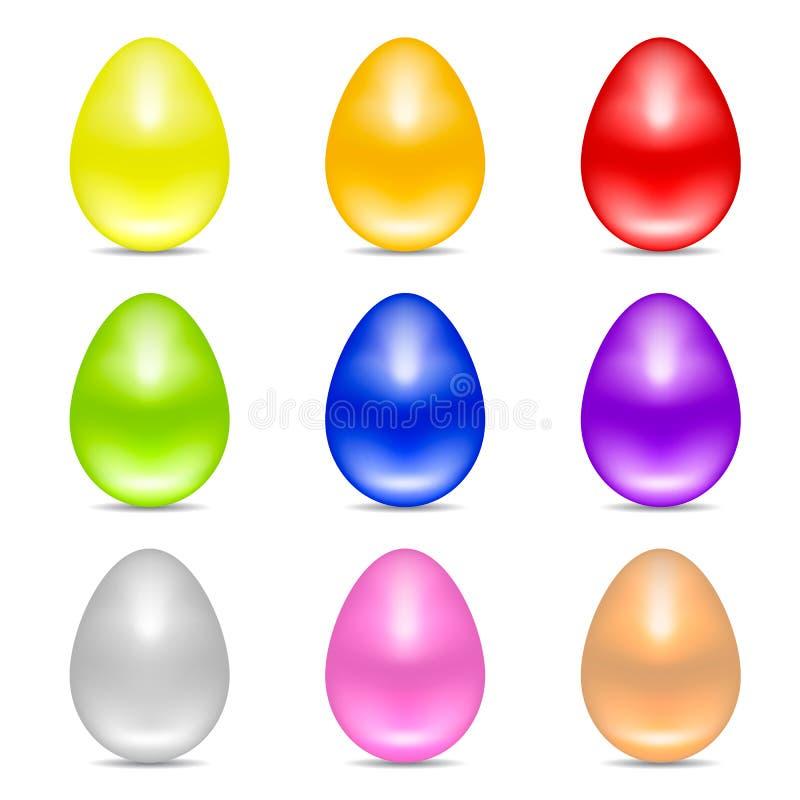 Ajuste dos ovos da páscoa realísticos coloridos isolados no fundo branco Ovos brilhantes lustrosos Ilustração do vetor para sua á ilustração stock