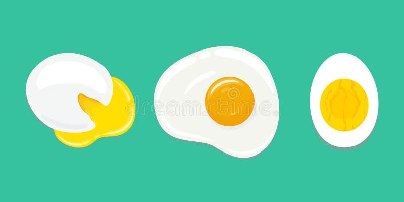 Ajuste dos ovos diferentemente cozinhados Ovo escalfado, ovo frito, ovo cozido duro Ilustração desenhada mão do vetor ilustração do vetor