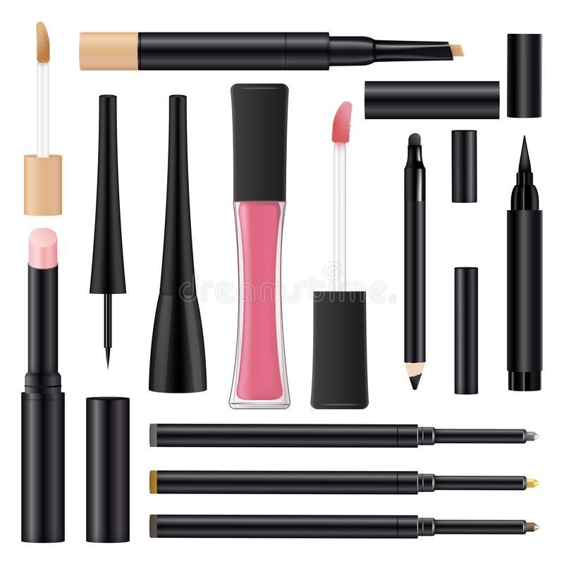 Ajuste dos pacotes realísticos para os cosméticos 3d realísticos Molde da sombra para os olhos dos recipientes, lápis de olho, ba ilustração do vetor