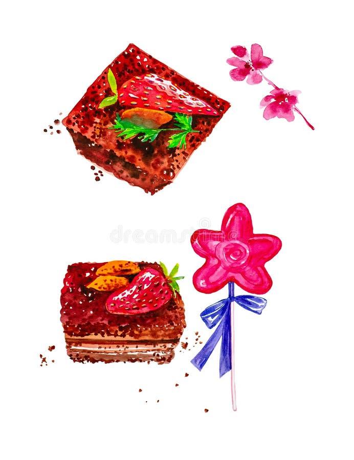 Ajuste dos pedaços de bolo com amêndoas e morangos, pirulito com uma curva e galhos de flores cor-de-rosa Ilustração da aguarela imagem de stock