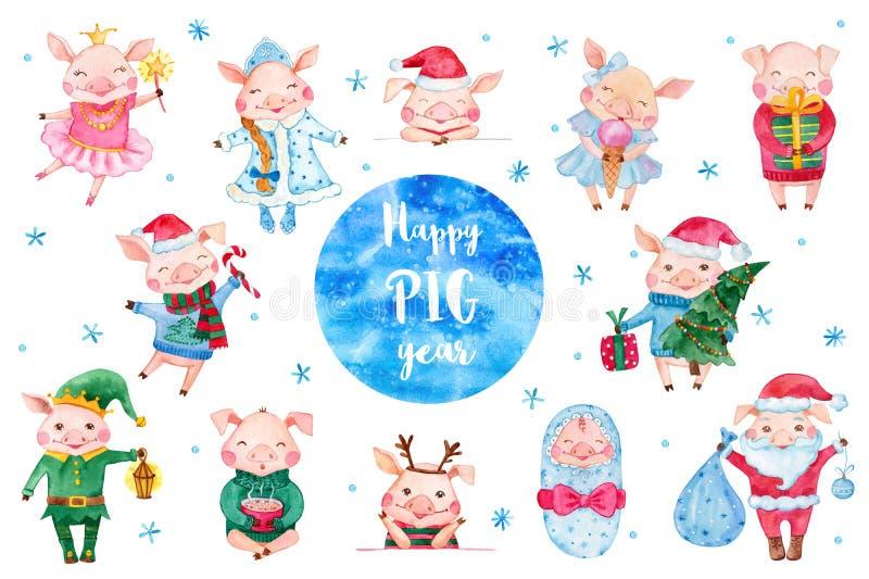 Ajuste dos personagens de banda desenhada bonitos do porco da aquarela ilustração royalty free