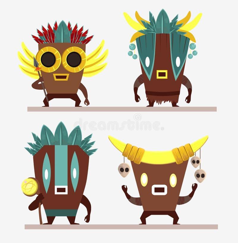 Ajuste dos personagens de banda desenhada na máscara dos astecas Astecas com a lança, os crânios, as penas e o pessoal isolados n ilustração stock