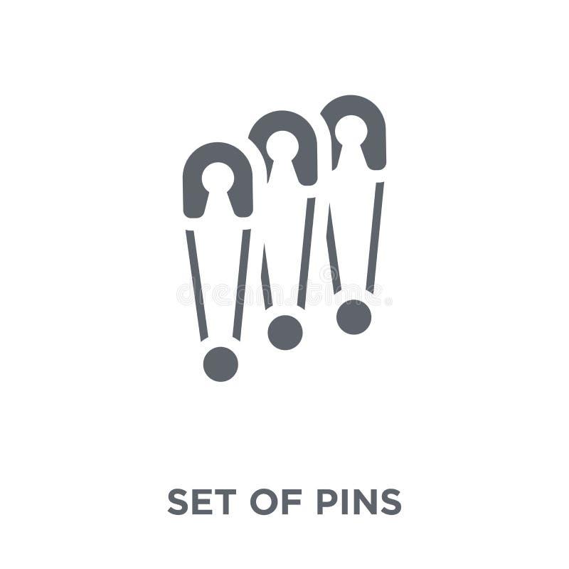 Ajuste dos pinos que o ícone de costura a coleção ilustração stock