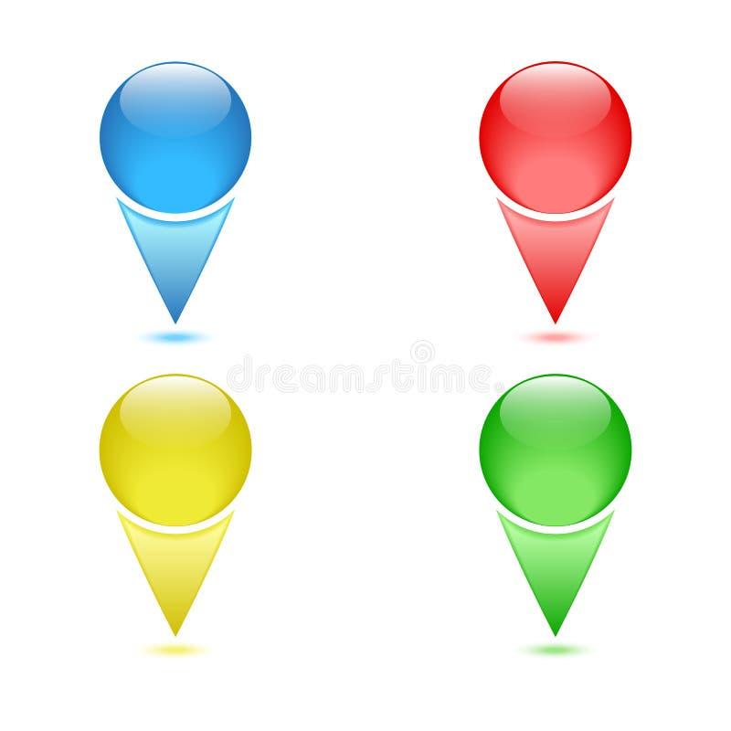 Ajuste dos pontos de verificação coloridos, pinos da navegação ilustração stock