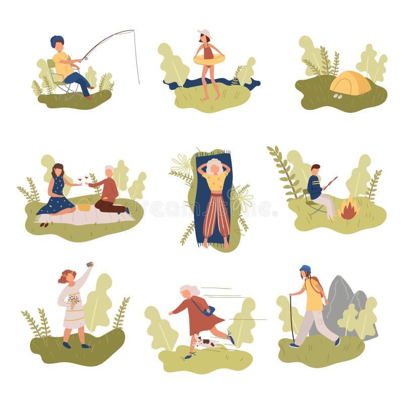 Ajuste dos povos diferentes que descansam em feriados em lugares da natureza ilustração stock