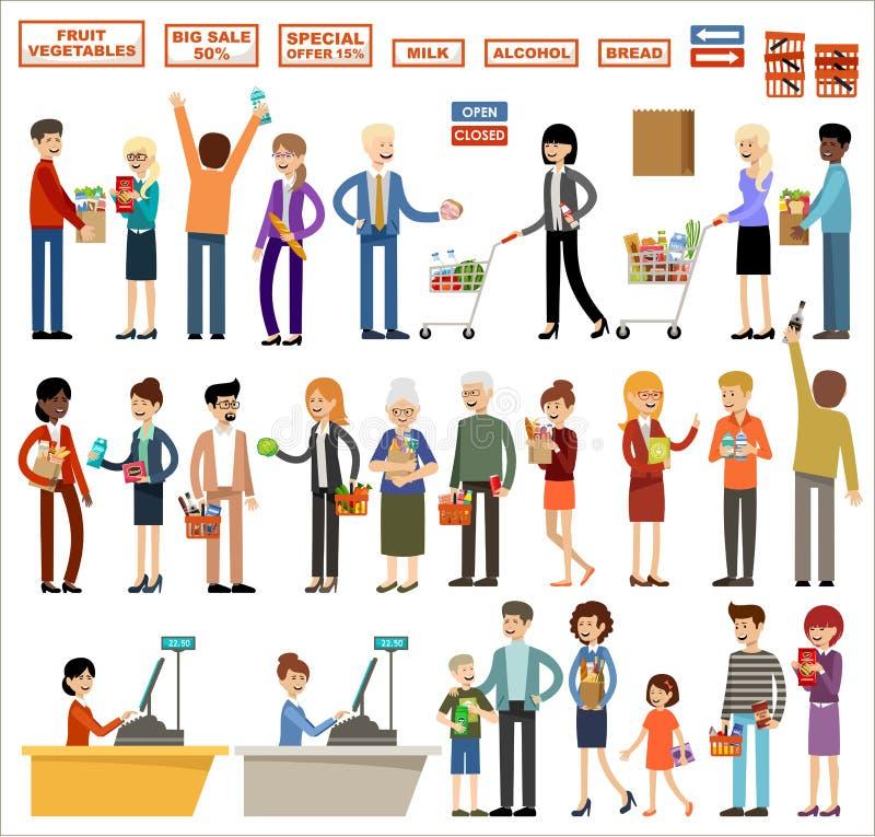 Ajuste dos povos em um supermercado em um fundo branco Compra, produtos, compras ilustração stock