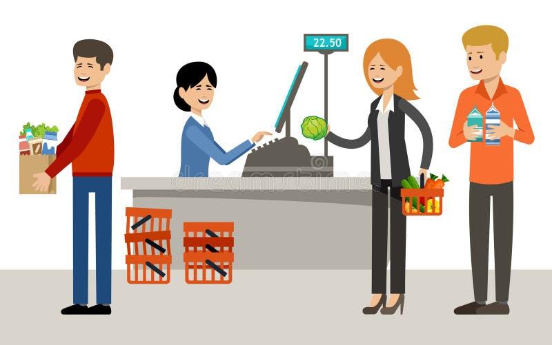 Ajuste dos povos em um supermercado em um fundo branco Compra, produtos, compras ilustração royalty free