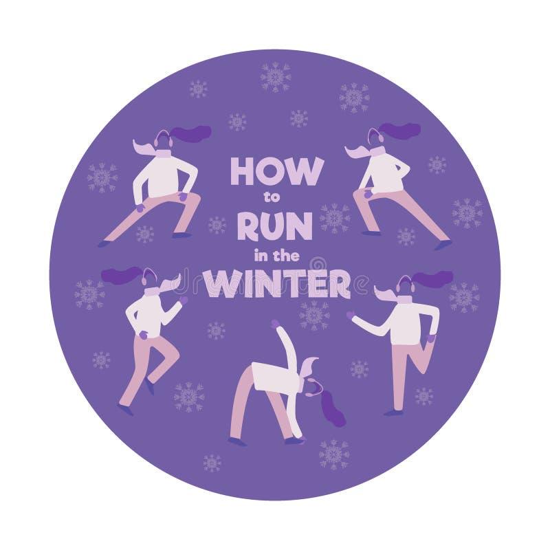 Ajuste dos povos, homens e as mulheres, correndo na estação do inverno, ilustração lisa do vetor dos desenhos animados isolaram-s ilustração stock