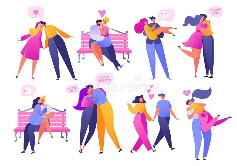 Ajuste dos povos no amor Valentim que data o grupo Ilustração romântica do vetor no tema da história de amor Abraço liso feliz do ilustração royalty free