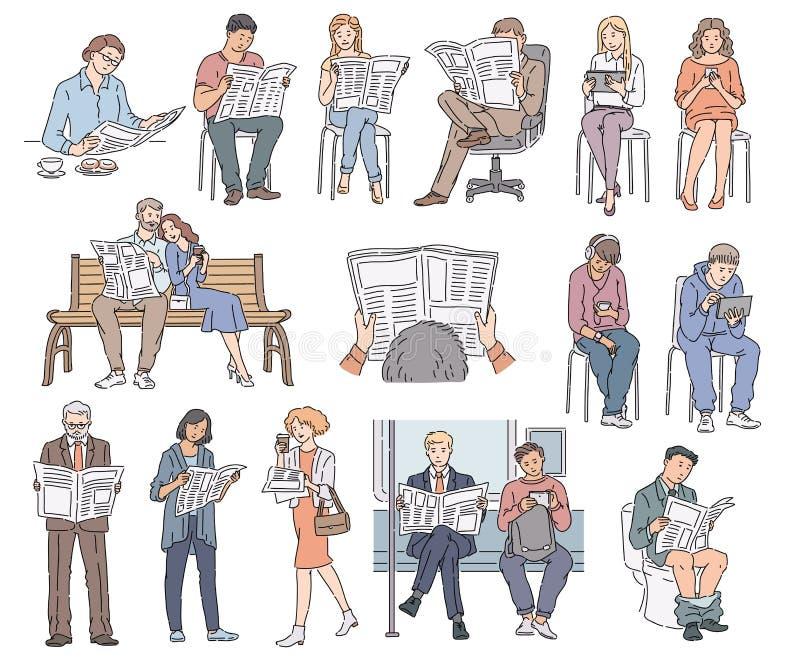 Ajuste dos povos que leem o jornal ilustração royalty free