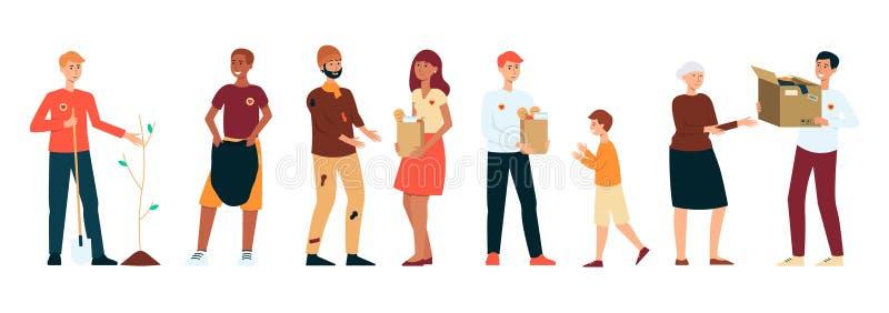 Ajuste dos povos dos voluntários que fazem o estilo diferente dos desenhos animados das atividades da caridade ilustração stock