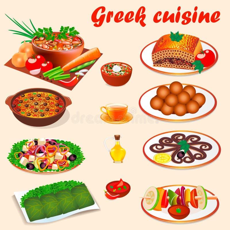 ajuste dos pratos nacionais típicos da culinária grega ilustração stock