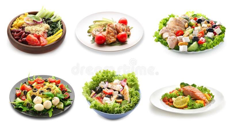 Ajuste dos pratos saudáveis deliciosos no fundo branco fotografia de stock royalty free
