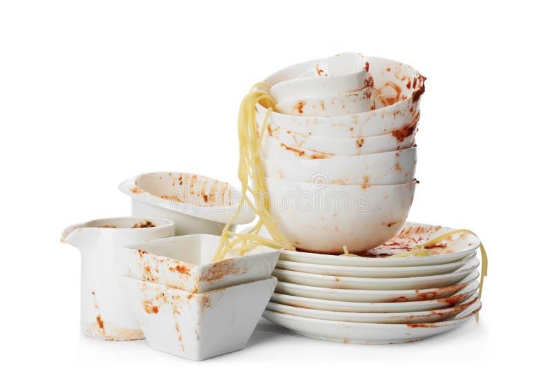 Ajuste dos pratos sujos com sobras dos espaguetes imagens de stock royalty free