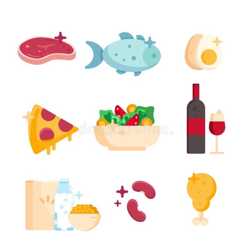 Ajuste dos produtos saudáveis salada vegetal, peixe, carne, galinha, pizza, vinho, ovo, cereais de café da manhã isolados em um f ilustração do vetor