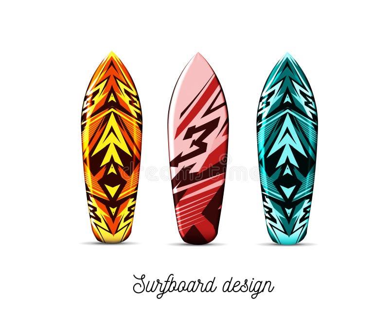 Ajuste dos projetos para placas do surfista em um fundo branco Ilustra??o do vetor Estilo havaiano ilustração do vetor