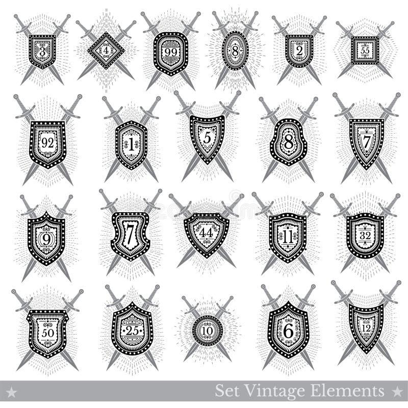 Ajuste dos protetores geométricos diferentes com raio claro e cruze espadas ilustração do vetor