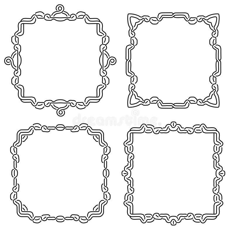 Ajuste dos quadros de atadura mágicos e da cruz celta Elementos decorativos do quadrado com entrançamento das listras Vetor ilustração do vetor
