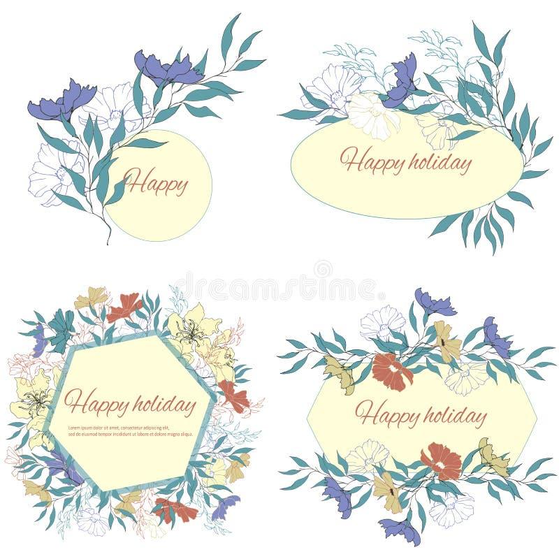 Ajuste dos quadros de texto com as flores delicadas da aquarela Moldes românticos para cartões, cumprimentos, convites Flores do  ilustração royalty free