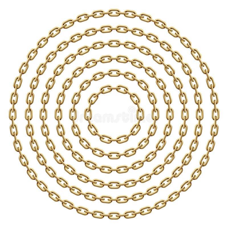 Ajuste dos quadros do círculo feitos de correntes douradas Ilustração do molde do vetor ilustração do vetor