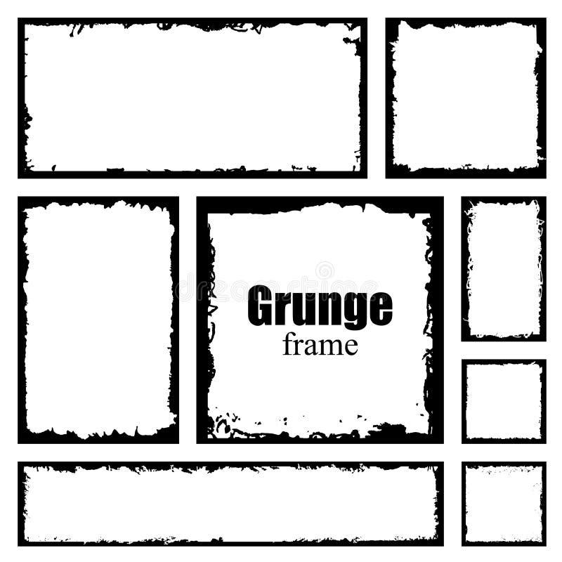 Ajuste dos quadros do grunge da tinta com bordas danificadas Beira preta da aflição Molde da tração da mão do vetor ilustração do vetor